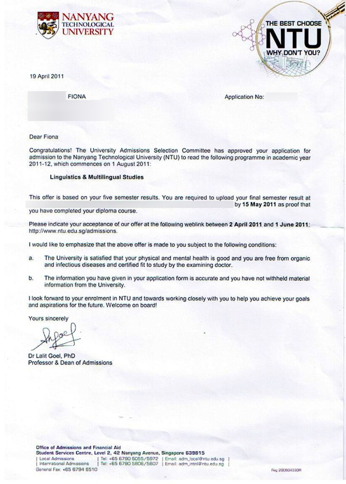 Admission letter from NTU