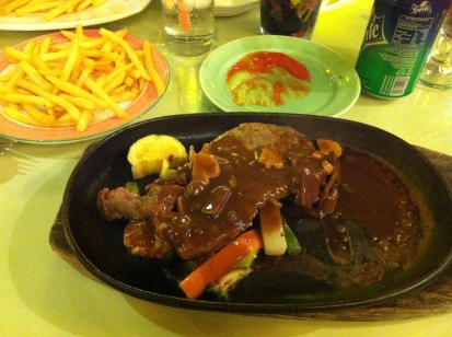 My hot plate steak! Surprisingly good. I think it's slightly better than Aston's.