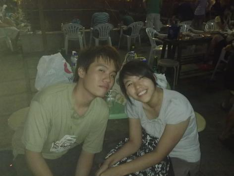First photo of Bf and I when he was wayyyy slimmer =X This was at Haibin Prawning Place and before we got together.