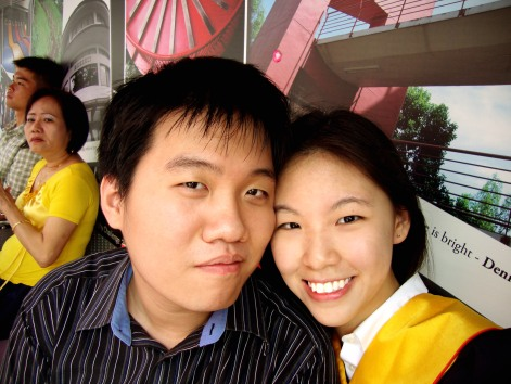 (2011) At my graduation ceremony, Singapore Polytechnic. He wanted for me to leave the auditorium under the scotching sun because I didn't have enough tickets for him. Thanks for waiting dear.