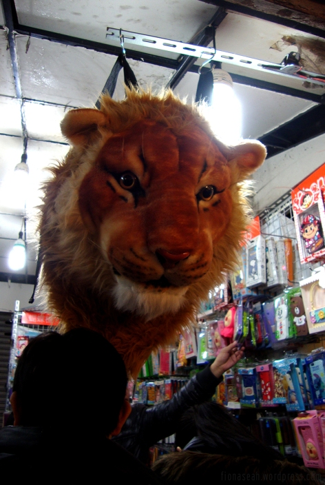 Saw this lion head backpack at almost every night market I went to!