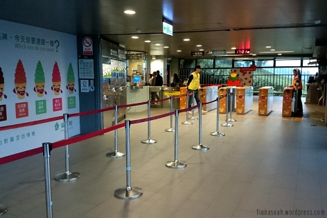 Queue barriers to separate the ones exiting and entering the station.