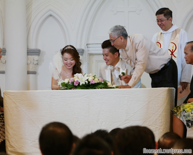 Signing the certificate of marriage