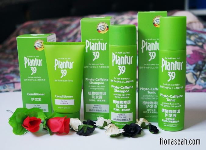 Products under Plantur39: Phyto-Caffeine Tonic (for massaging into the scalp), Phyto-Caffeine Shampoo & Conditioner