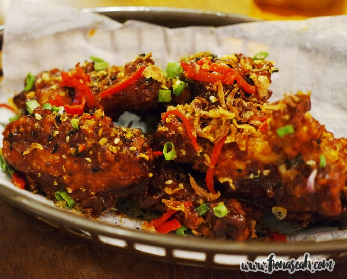 "Wings-Its (S$10++) - ""Crispy, fall off the bone, twice cooked chicken wings, scallions & smokey BBQ sauce"""