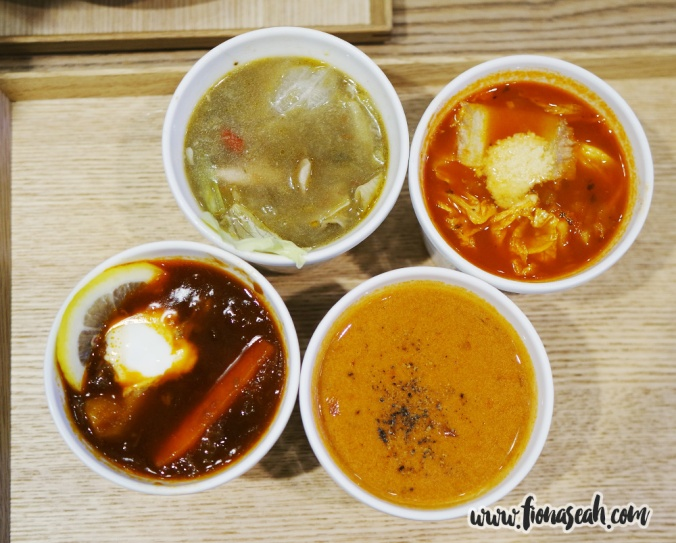 Soups (from top left, clockwise): Chicken Vegetable Soup, Pork and Tomato Stroganoff, Hokkaido Crab Bisque, Tokyo Beef Borsch