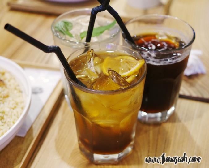 Drinks: Iced Tea, Lemon Tea Soda and Mint Soda