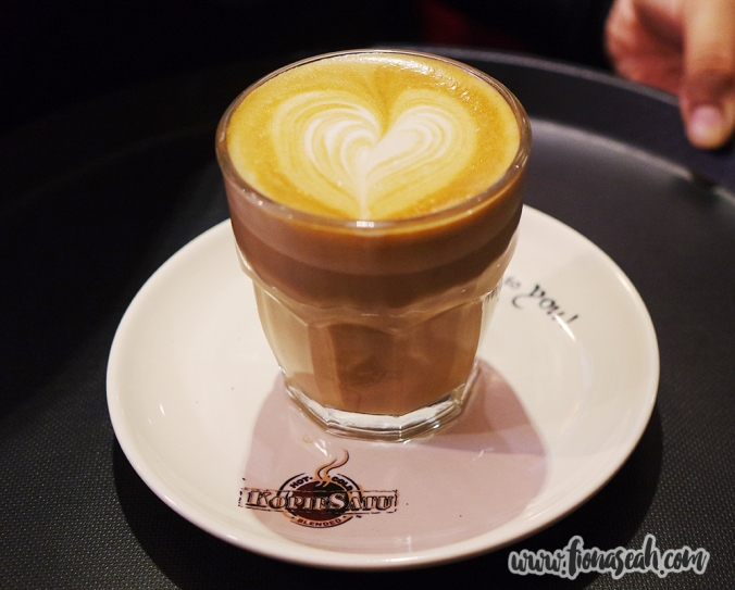 Latte art by one of the baristas at KopieSatu Café