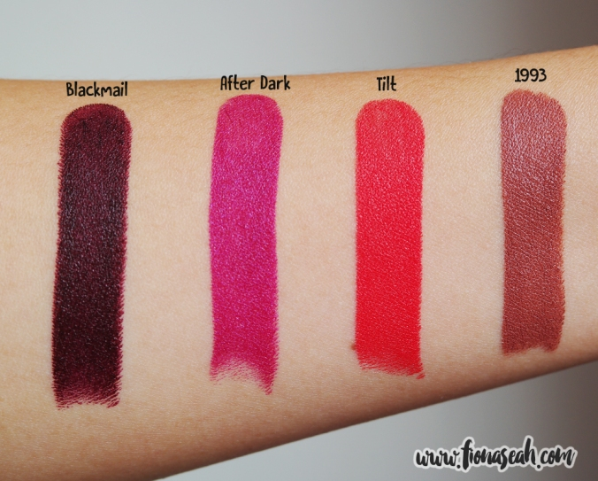 Urban Decay Matte Revolution Lipsticks in Blackmail, After Dark, Tilt and 1993