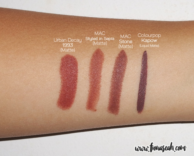 Kapow swatch comparison with lipsticks