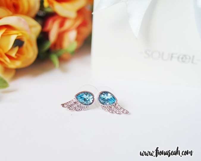 Austrian Crystal Angel Wing Ocean Blue Ear Studs, was on offer at S$23.73.