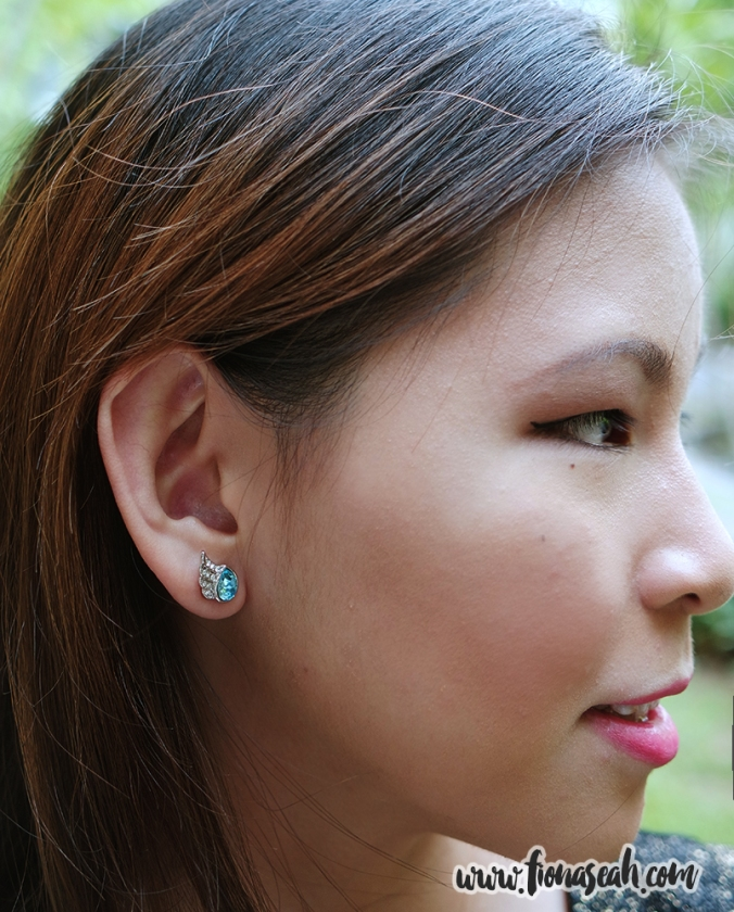Austrian Crystal Angel Wing Ocean Blue Ear Studs