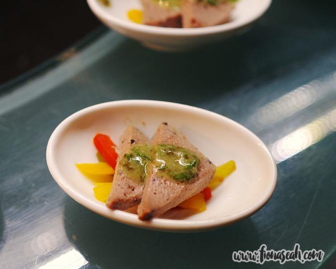 Vegetable Terrine with Roasted Bell Pepper & Chervil Oil