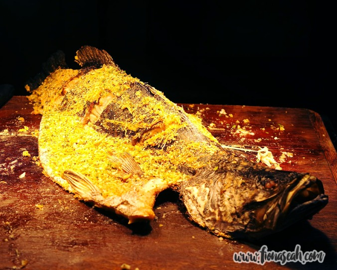 Baked Whole Barramundi Fish with Crab Meat Herbs Crust
