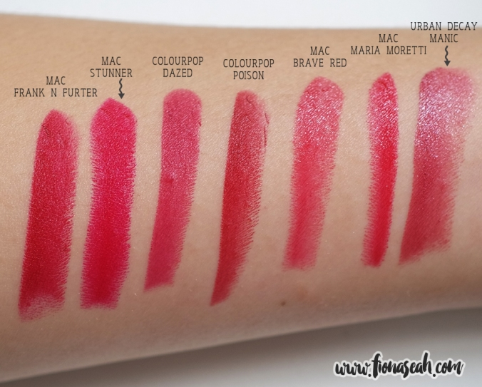 Poison and Dazed Lippie Stix - swatch comparison with other brands