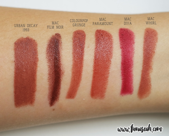 Grunge Lippie Stix - swatch comparison with other brands