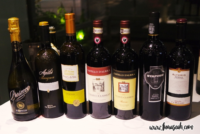 Wines for tasting that evening