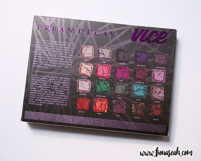 Urban Decay Vice 4 Eyeshadow Palette (back)