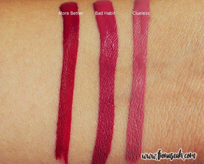 More Better and Bad Habit against Clueless, another Ultra Matte Lip shade