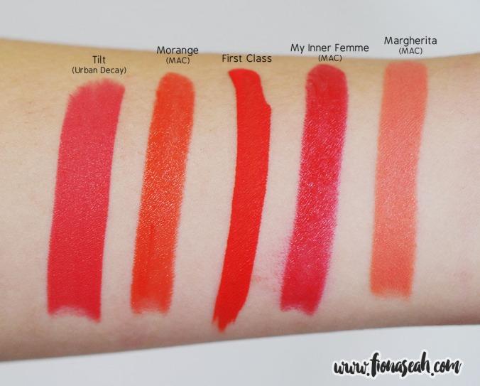 Swatch comparison with similar orange-hued lipsticks