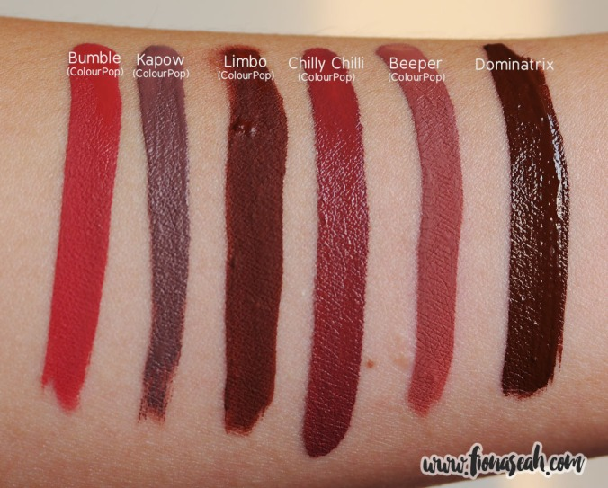 Swatch comparison against similar liquid lipstick shades