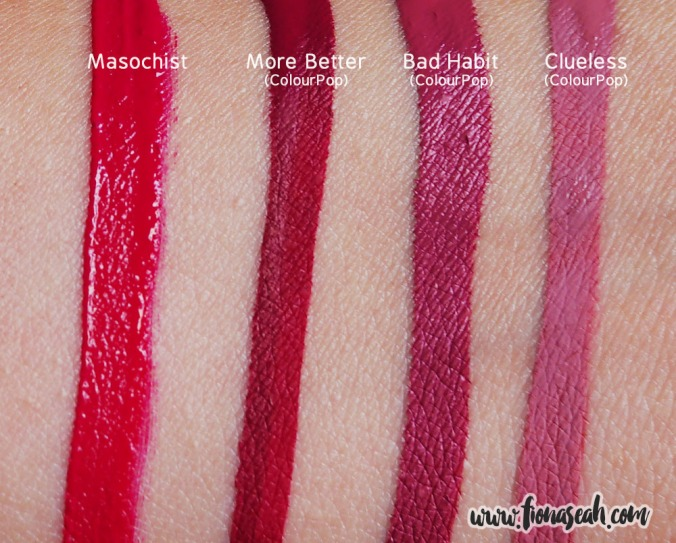 Swatch comparison against other similar liquid lipstick shades