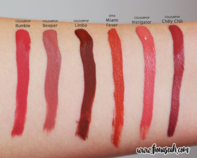 OFRA Miami Fever swatch comparison