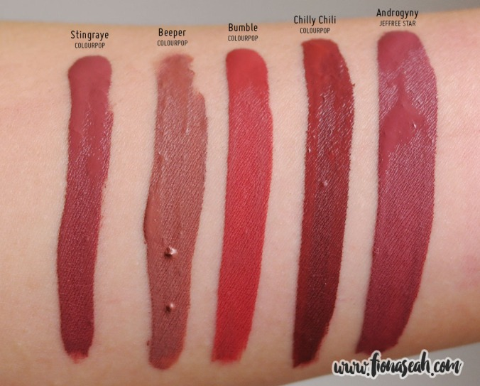 Jeffree Star Velour Liquid Lipstick in Androgyny - swatch comparison