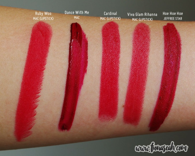 Jeffree Star Velour Liquid Lipstick in Hoe Hoe Hoe - swatch comparison