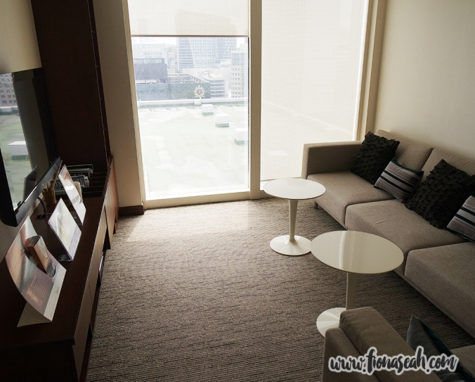 Resting room equipped with a TV and a nice, comfy couch. What's more, a nice view of Orchard Road!