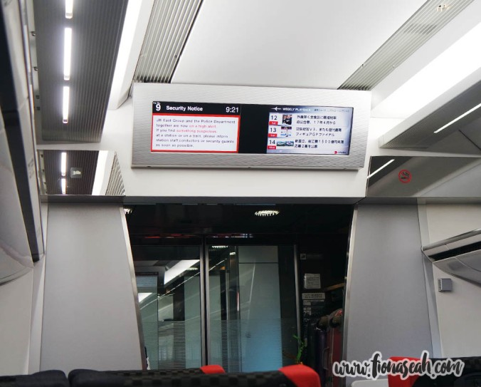 Inside one of the NEX train cabins