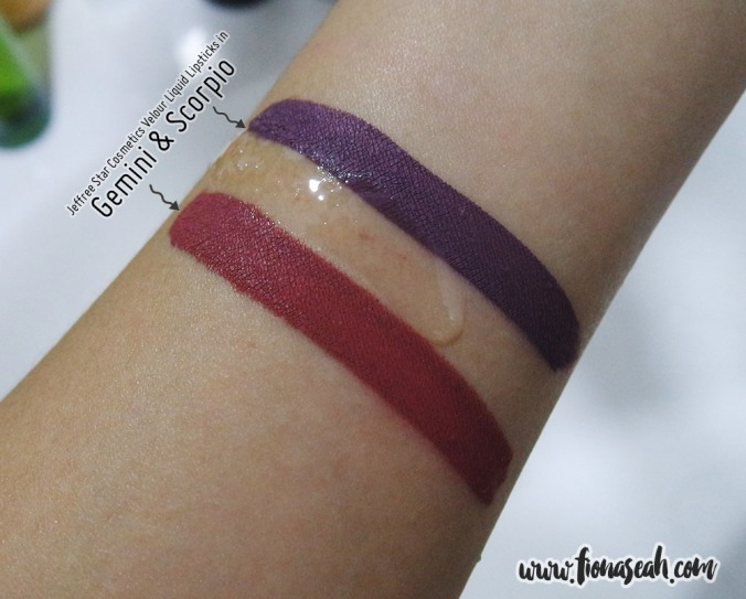 Decided to do a trial run on my wrist with two new Velour Liquid Lipstick shades before removing my face makeup!