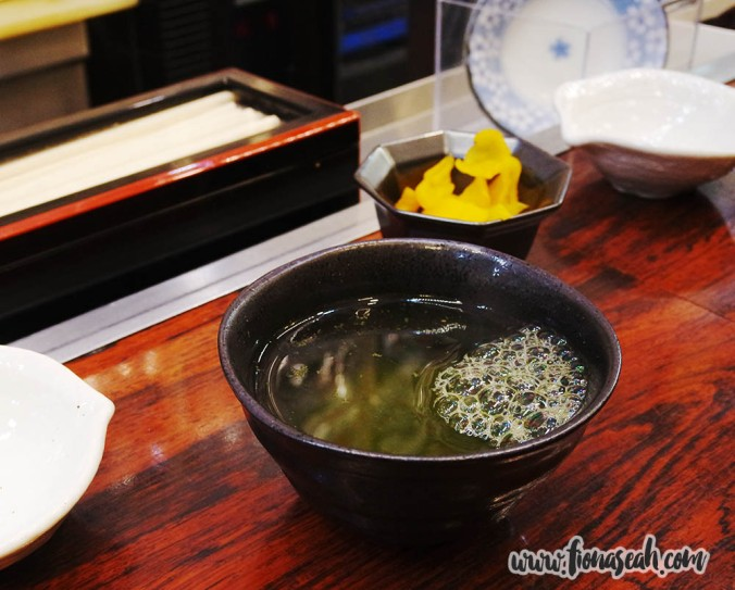 Once seated, we were served a bowl (?) of hot green tea, pickles and miso soup (not pictured)