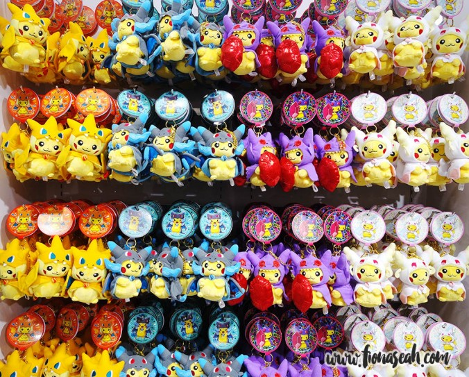 Pikachu plushies and keychains