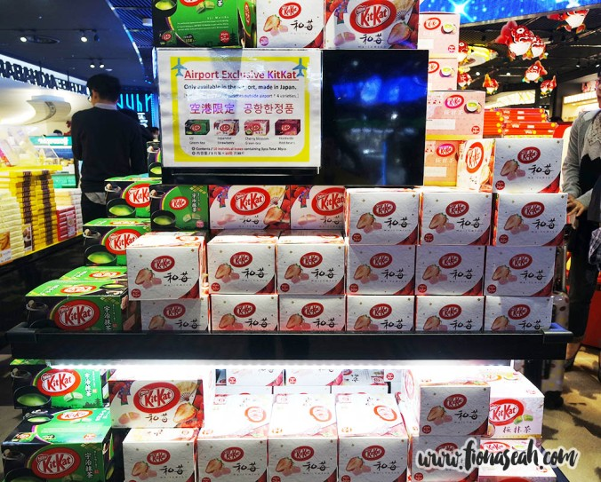 Airport-exclusive KitKats! The matcha-flavoured one is pretty common and can already be bought at my local supermarkets but not for other flavours like strawberry, sakura, etc. WAAAAH SHUT UP AND TAKE MY MONEY!