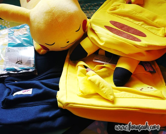 Sleeping Pikachu plushie (now my bed companion) and Pikachu backpacks from Pokemon Center Mega Tokyo