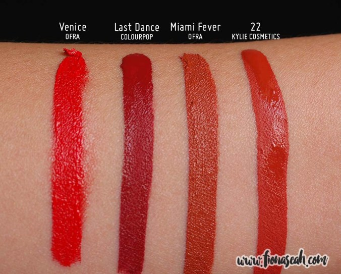 Kylie Cosmetics 22 Matte Lip Kit - Liquid Lipstick swatch comparison