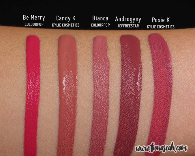 Kylie Cosmetics Candy K Matte Lip Kit - Liquid Lipstick swatch comparison