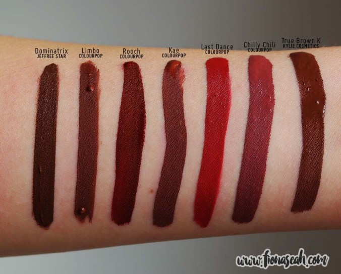 Kylie Cosmetics True Brown K Matte Lip Kit - Liquid Lipstick swatch comparison