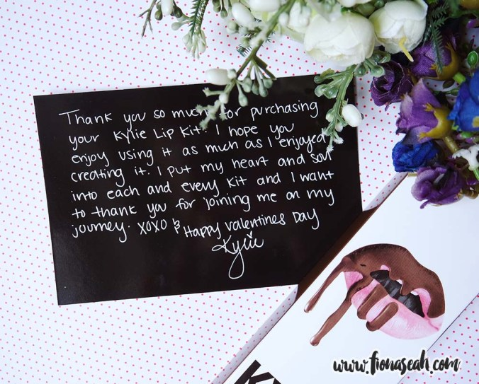 "Kylie's ""handwritten"" letter of appreciation (as you can tell, this was a Valentine's Day haul)"