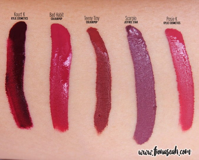Swatch comparison with other purples