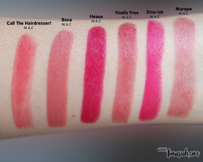 M.A.C Finally Free swatch comparison. It is quite close to Marque but with a cooler undertone