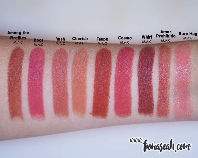 M.A.C Selena Amor Prohibido swatch comparison