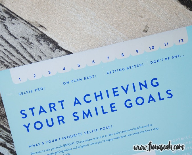 Smile goals card with a white-o-meter at the top LOL