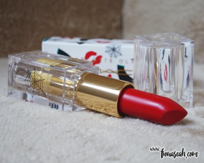 M.A.C X Charlotte Olympia lipstick in Starlett Scarlet (US$18)