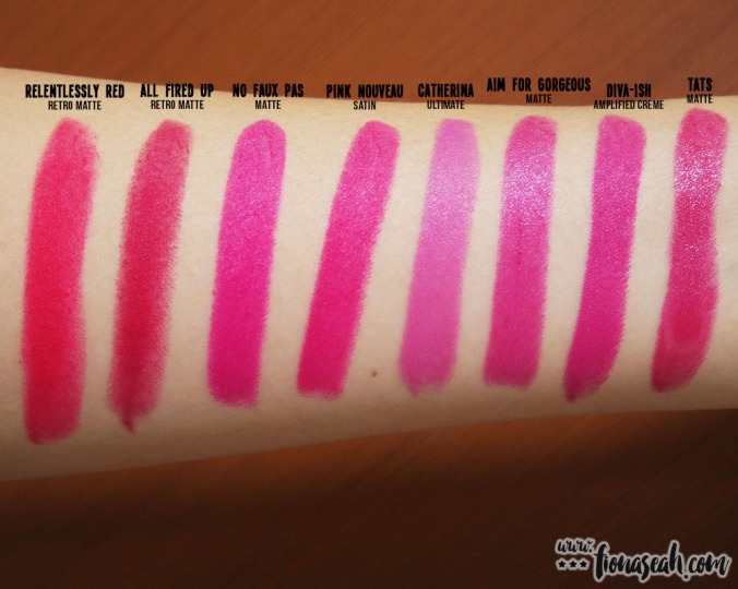M.A.C Aim for Gorgeous lipstick swatch comparison