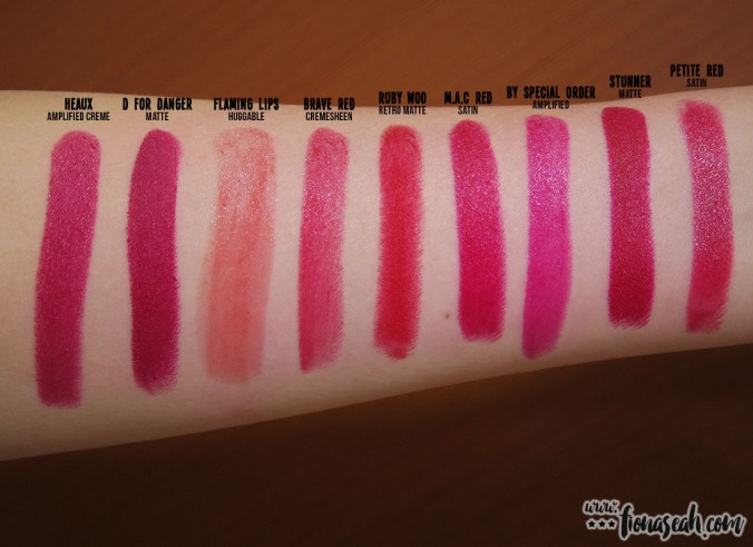 M.A.C By Special Order lipstick swatch comparison