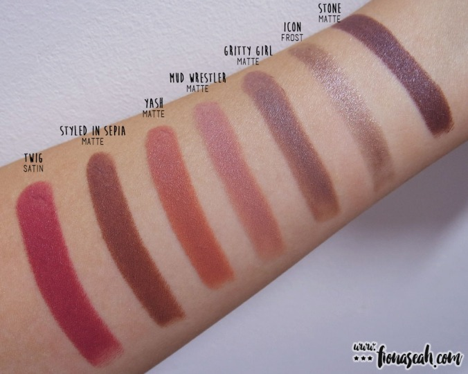 M.A.C Gritty Girl swatch comparison