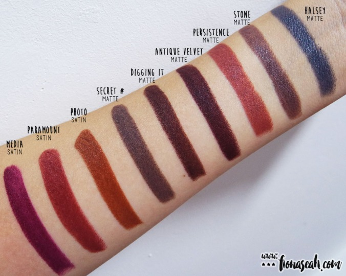 M.A.C Secret # and Digging It swatch comparison - Stone is lighter and warmer as compared to Secret # while Antique Velvet is slightly darker and more pigmented with more red undertones than Digging It