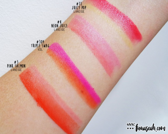 VDL #104 Triple Swag compared with similar-looking Laneige Two-Tone Lip Bar shades